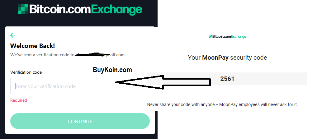Email verification step of bitcoin purchase