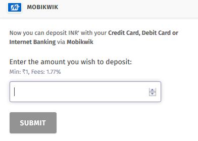 Deposit INR to BitBns using MobiKwik Wallet
