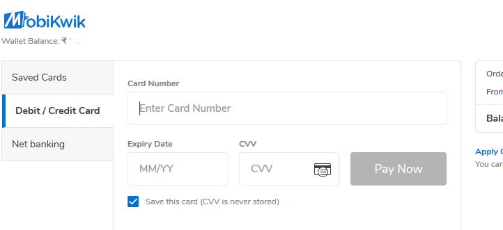 Deposit to BitBns Wallet using Debit card or credit card