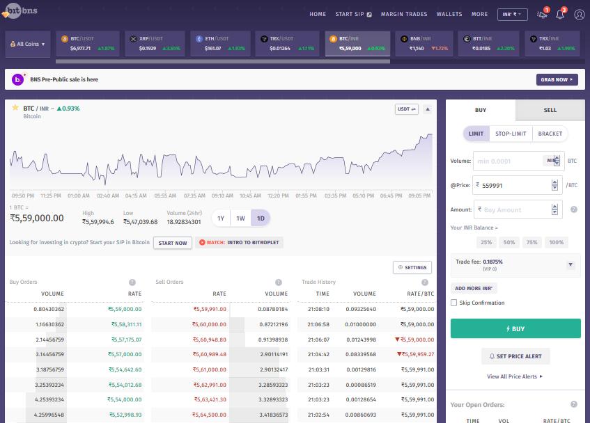 BitBns Web Trading Interface