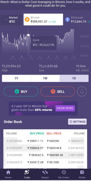 bitbns mobile app interface view
